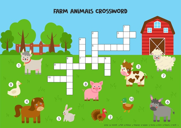 Farm animal crossword puzzle for kids. cute smiling domestic animals. educational game for children.