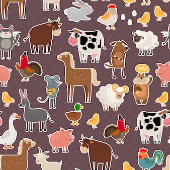 Farm animal and pets stickers pattern. cow and sheep, pig and horse