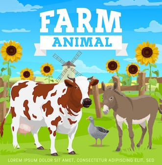 Farm animals, agriculture gardening and farming
