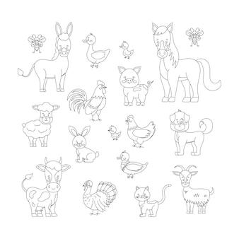 白い背景で隔離の家畜や鳥のラインアートセット。かわいい線形家禽のキャラクター-羊、山羊、牛、ロバ、馬、豚。ベクトルフラット編集可能な線形シルエットイラスト。