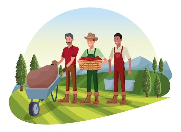 Ферма, животные и фермер мультфильм