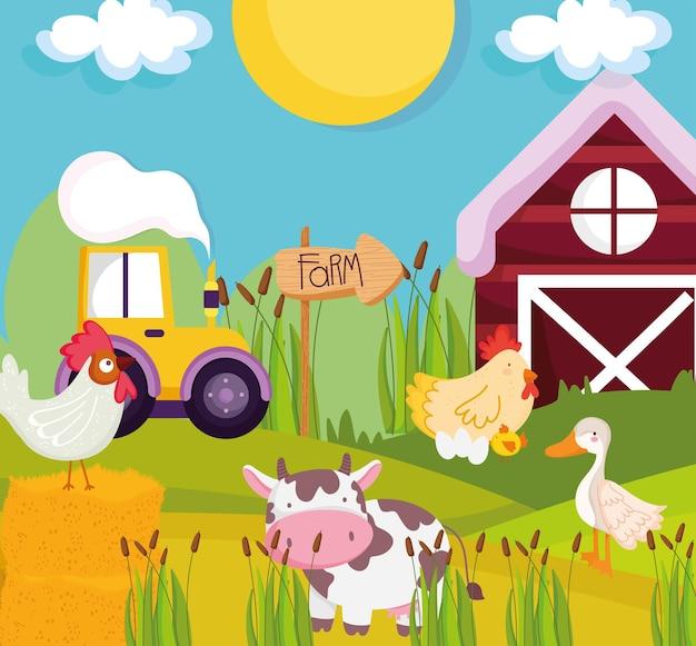 농장 동물과 트랙터