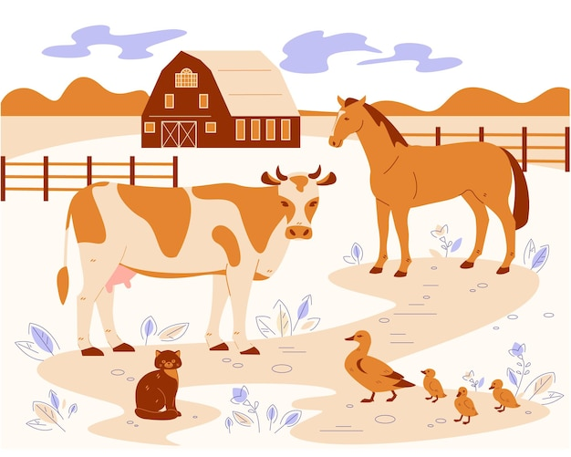 Farm animals on the background of the rural landscape.