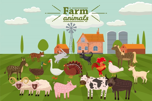 Farm animals and birds set in trendy cute style