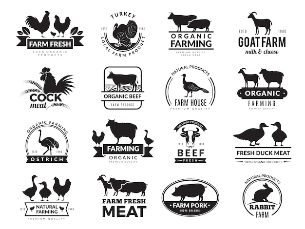 Farm animals. business logo with domestic animals cow chicken goat healthy food symbols farm collection