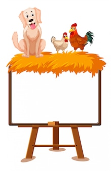Farm animals cartoon character and blank banner on white background