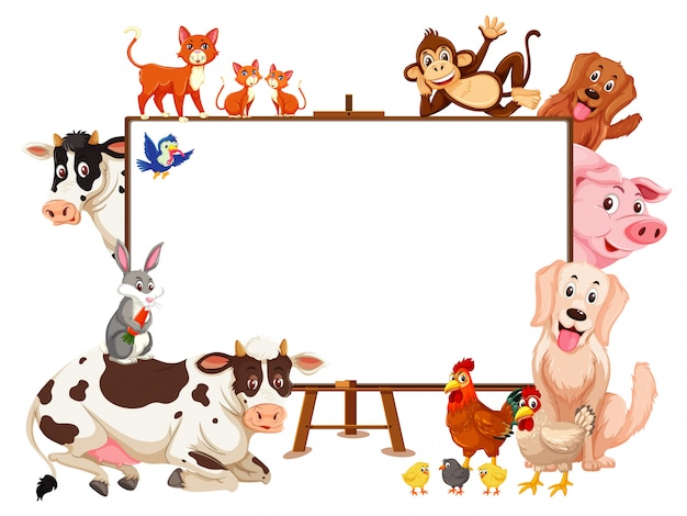 Farm animals cartoon character and blank board on white