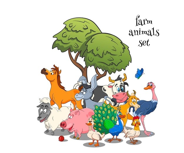 Farm animals characters big set of cartoon rural animals. horse, pig, duck, chicken, hare, ostrich, cow, goat, peacock, donkey, sheep, dog. children's illustration. for decoration and design.