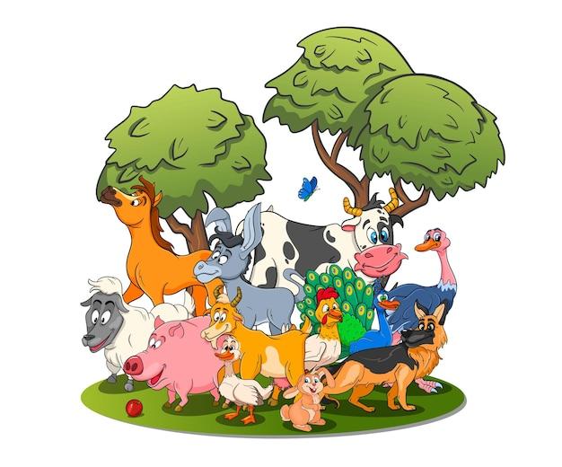 Персонажи сельскохозяйственных животных большой набор мультяшных сельских животных. лошадь, свинья, утка, курица, заяц, страус, корова, коза, павлин, осел, овца, собака. детская иллюстрация. для декора и дизайна.