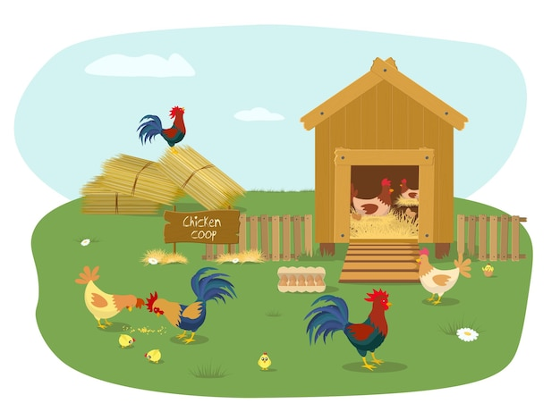 많은 병아리와 농장 동물 닭장