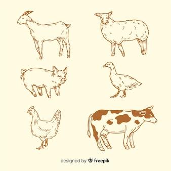 Коллекция сельскохозяйственных животных в стиле рисованной