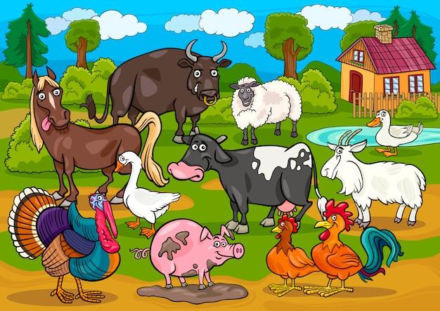 Сельскохозяйственные животные страна сцены мультфильм иллюстрации