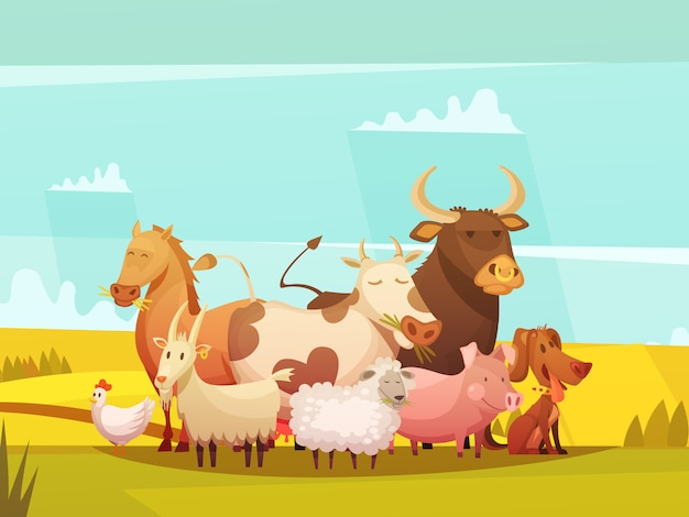 Farm animals in countryside cartoon poster