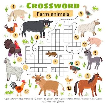 농장 동물 낱말. 미취학 아동 활동 워크시트용. 단어 찾기 퍼즐 게임을 건너는 어린이