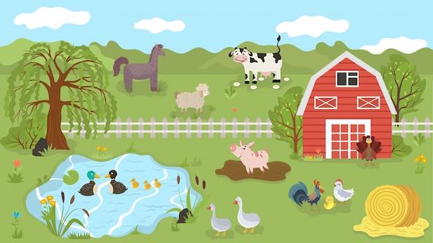 Сельскохозяйственные животные милые герои мультфильмов на летнем пастбище, иллюстрации