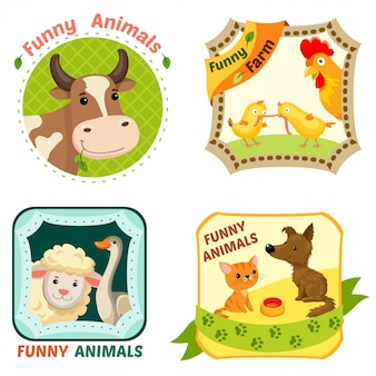 Farm animals emblems set.