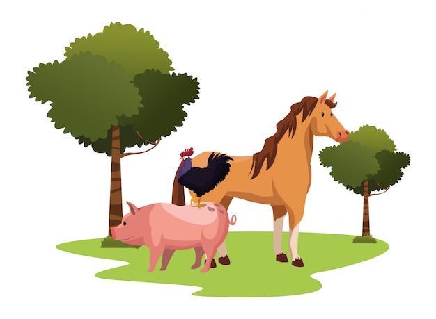 Farm, animals and farmer cartoon