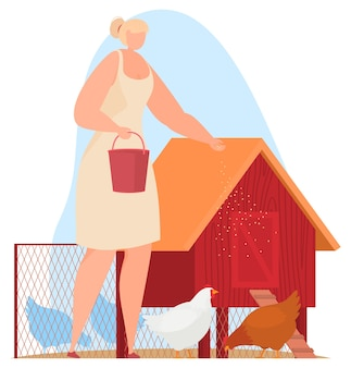 Farm animals, farmer. feeding chickens, chicken coop.  illustration