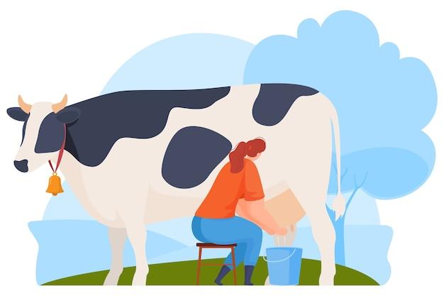 농장 동물, 농부. 젖소. 삽화