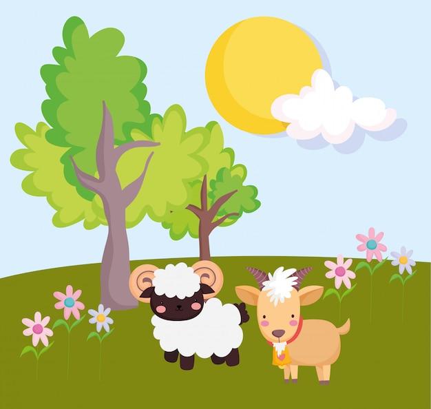 Сельскохозяйственные животные коза баран цветы деревья в поле мультфильм