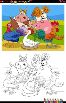 Farm animals group cartoon coloring book page