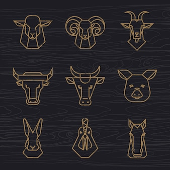 Farm animals head logo set
