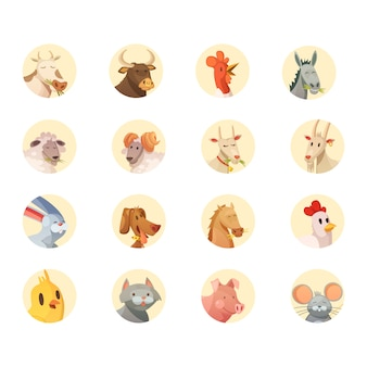 Farm animals heads round icons collection