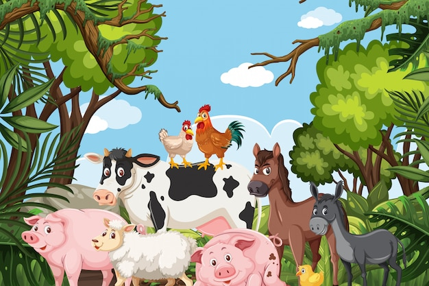 Farm animals in jungle scene