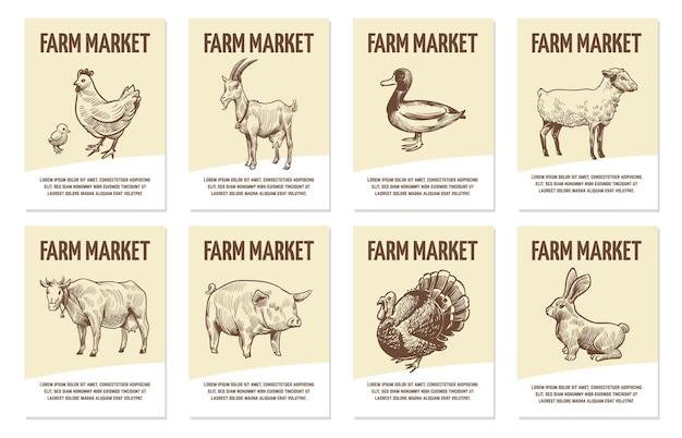 家畜のラベル。有機食品、手描きの鶏肉と牛、豚肉と羊、七面鳥と鴨のモノクロバッジの彫刻スタイルのショップのタグコピースペース付きフラットベクトルスケッチエンブレム