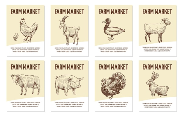 Farm animals labels. tags for shops of organic food, hand drawn chicken and cow, pig and sheep, turkey and duck monochrome badges in engraving style flat vector sketch emblems with copy space