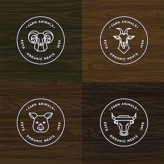 農場の動物のロゴまたはバッジセット