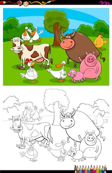 Farm animals on the meadow coloring book