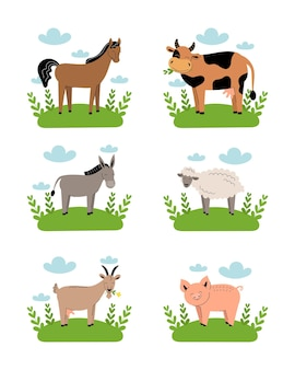 Farm animals on meadow on white background. collection of cartoon cute baby animals on green grass.cow, sheep, goat, horse, donkey, pig. flat vector illustration isolated.