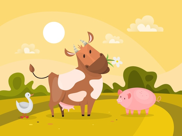 Farm animals outdoors. cow chewing grass and pig