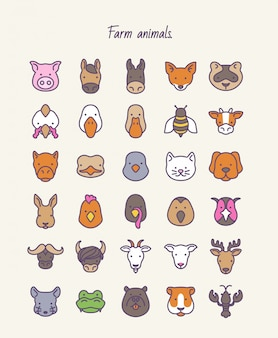 Farm animals. outline vector set icons.