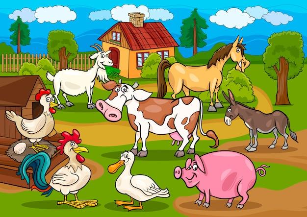 Сельскохозяйственные животные сельская сцена мультфильм иллюстрации