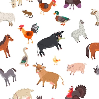 Farm animals seamless pattern in flat style isolated