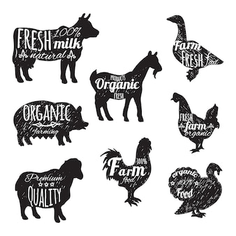 Farm animals set chalkboard decorative icons