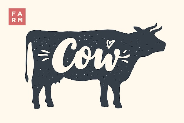 Farm animals set.  cow silhouette and words cow, farm. creative graphic  with lettering cow for butcher shop, farmer market. poster for animals theme.  illustration