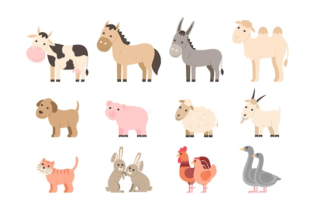 Farm animals set. cute cartoon pet and domestic animals collection: cow, horse, donkey, camel, dog, pig, sheep, goat, cat, rabbit, rooster and chicken, goose. vector illustration in cartoon flat style