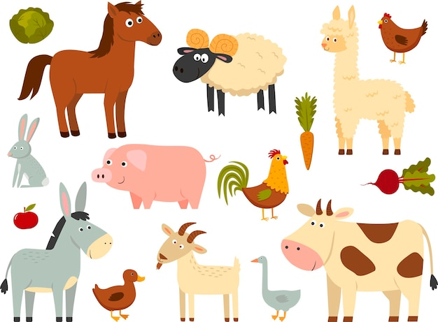 Farm animals set in flat style isolated on white background. vector illustration. cute cartoon animals collection: sheep, goat, cow, donkey, horse, pig, duck, goose, chicken, hen, rooster, rabbit