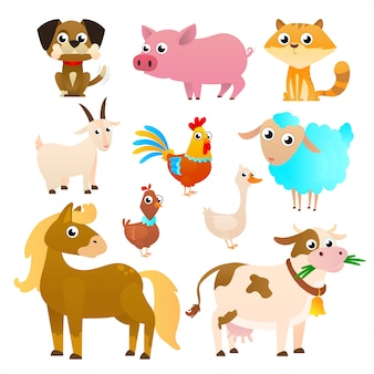 Farm animals set in flat style isolated
