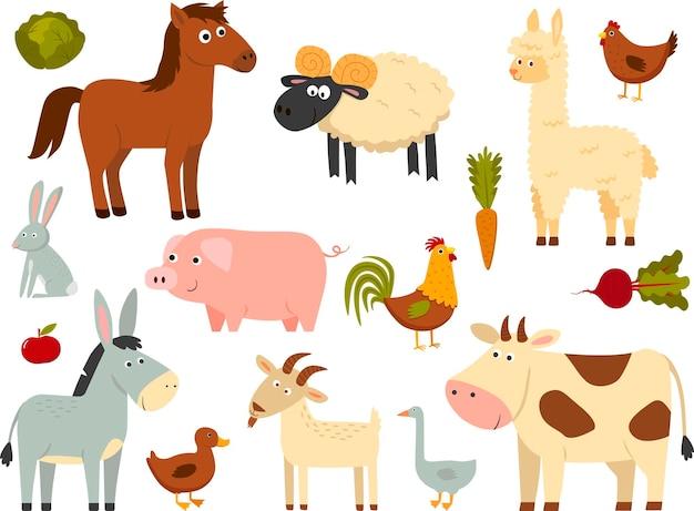 白い背景で隔離のフラットスタイルで設定された家畜。ベクトルイラスト。かわいい漫画の動物コレクション:羊、山羊、牛、ロバ、馬、豚、アヒル、ガチョウ、鶏、鶏、オンドリ、ウサギ