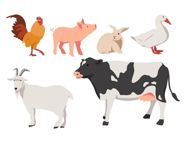 플랫 스타일로 설정된 농장 동물