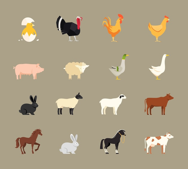 평면 벡터 스타일에서 설정하는 농장 동물