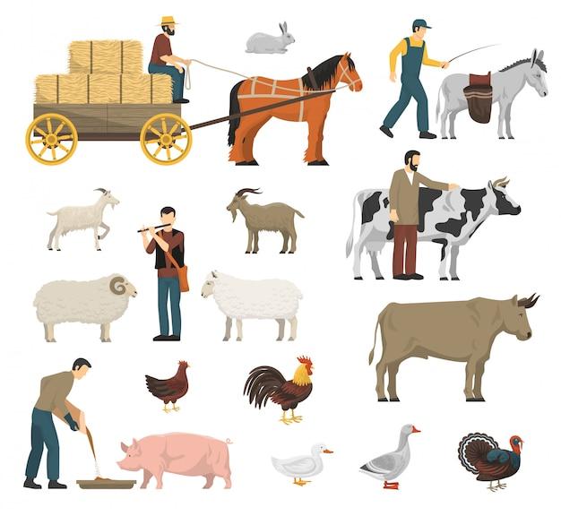 Set di animali da fattoria