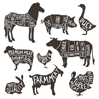 Farm animals silhouette typographics
