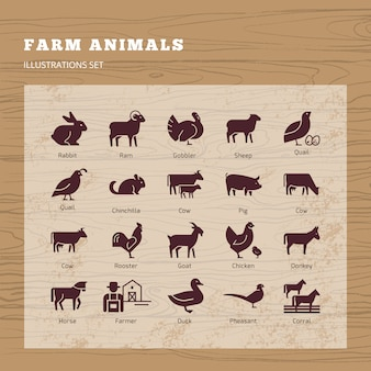 Farm animals silhouettes set