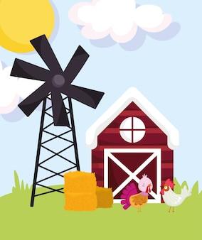 農場の動物トルコとオンドリ干し草の納屋風車草漫画