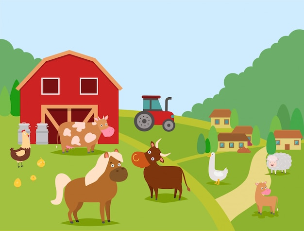 Farm animals vector illustration. domestic animals cow, bull and calf, sheep, horse. poultry chicken with chicks and duck. barn, cans, houses, tractor. farmer house and his animals